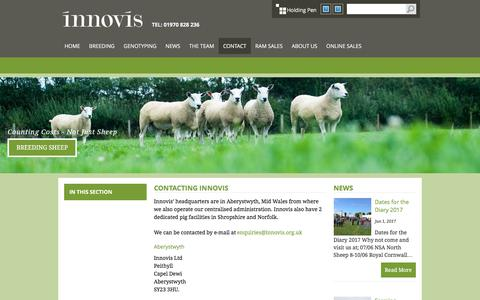 Screenshot of Contact Page innovis.org.uk - Innovis Breeding Sheep :: Contact - captured June 7, 2017