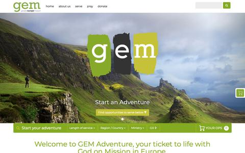 Screenshot of Home Page gemadventure.com - Greater Europe Mission - Christian Missions in Europe - captured Feb. 9, 2019