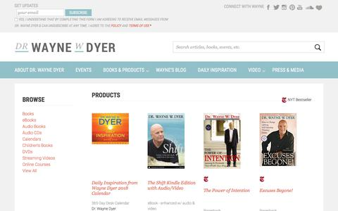 Screenshot of Products Page drwaynedyer.com - Dr. Wayne Dyer Books & Products - captured Sept. 25, 2018