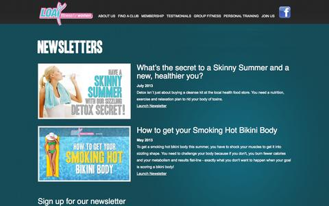 Screenshot of Signup Page loafitnessforwomen.com - Newsletters - LOA Fitness for Women – fitness clubs - captured Oct. 1, 2014