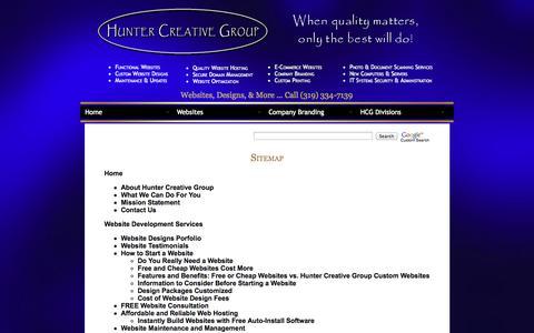 Screenshot of Site Map Page huntercreativegroup.com - Hunter Creative Group Website Design Development and Web Hosting - captured Sept. 23, 2014