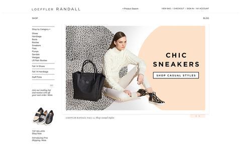 Screenshot of Home Page loefflerrandall.com - Loeffler Randall | Designer Shoes, Boots, Rain Boots & Handbags - captured Sept. 25, 2014