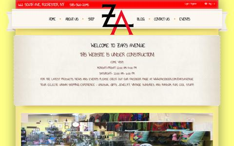 Screenshot of Home Page zaksavenue.com - Zak's Avenue | Your One Stop Shop for Unique Gifts and Eclectic Urban Shopping - captured Jan. 10, 2016