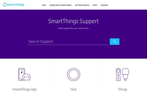 Screenshot of Support Page smartthings.com - SmartThings Support - captured July 5, 2017