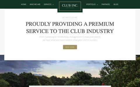 Screenshot of Home Page clubincorporated.com - Welcome | Club Inc. - captured Sept. 19, 2018