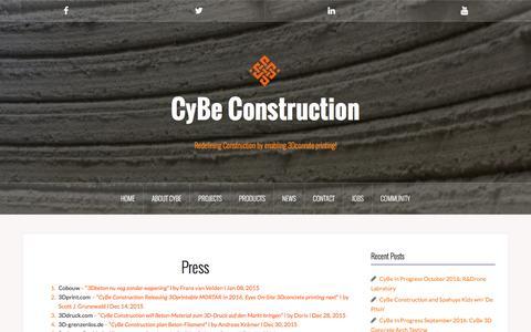 Screenshot of Press Page cybe.eu - Press - CyBe Construction - captured Nov. 15, 2016