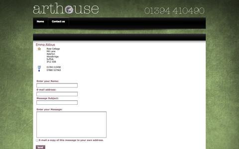 Screenshot of Contact Page arthousepublishing.co.uk - Emma Aldous - captured Oct. 4, 2014