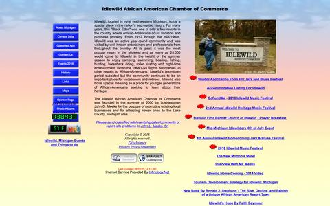 Screenshot of Home Page iaacc.com - Idlewild African American Chamber of Commerce - captured June 7, 2016