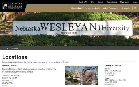 Screenshot of Locations Page nebrwesleyan.edu - Locations | Nebraska Wesleyan University - captured Dec. 2, 2016