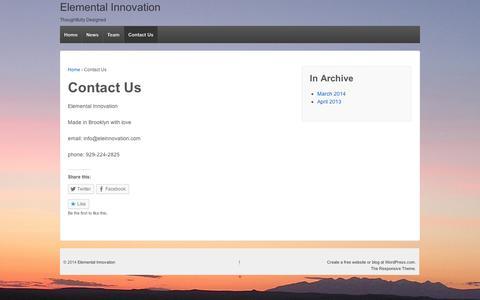 Screenshot of Contact Page wordpress.com - Contact Us   Elemental Innovation - captured Sept. 12, 2014
