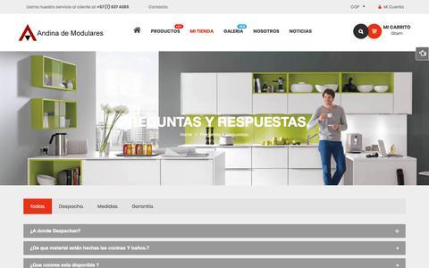 Screenshot of FAQ Page andinademodulares.com - Preguntas y Respuestas. – Fabrica  Muebles para Baños y Cocinas  en Bucaramanga. - captured Oct. 8, 2017