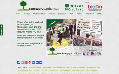 Screenshot of Press Page sanctuarysynthetics.ie - In The Media - Newspaper coverage of Sanctuary Synthetics - captured Sept. 30, 2014