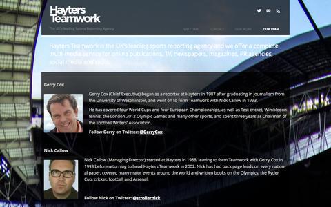 Screenshot of Team Page hayters.com - Our Team | Hayters Teamwork - captured Oct. 2, 2014