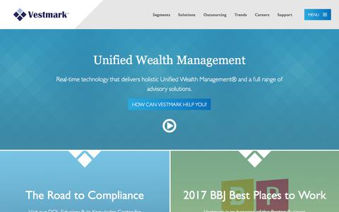 Screenshot of Home Page vestmark.com - Unified Wealth Management | Vestmark - captured Nov. 1, 2017