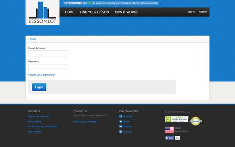 Screenshot of Login Page lessonlot.com - LessonLot.com - captured Sept. 29, 2014