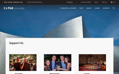 Screenshot of Support Page laphil.com - Support Us | LA Phil - captured Nov. 13, 2019