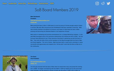 Screenshot of Team Page sonsofben.com - Leadership — Sons of Ben - captured May 29, 2019