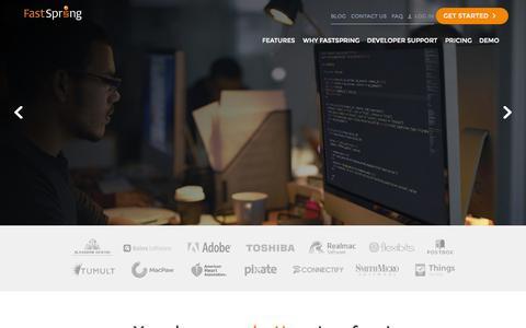 Screenshot of Home Page fastspring.com - FastSpring - Global E-Commerce Platform for Software and SaaS - captured Oct. 16, 2015