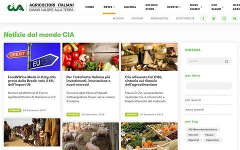 Screenshot of Press Page cia.it - CIA - Agricoltori Italiani - News - captured Sept. 29, 2018