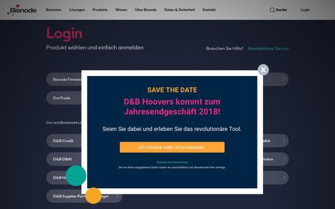Screenshot of Login Page bisnode.de - Bisnode Produktlogin: Produkt wählen und anmelden - Bisnode.de - captured Sept. 24, 2018
