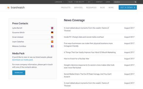Screenshot of Press Page brandwatch.com - News Coverage   5/159   Brandwatch - captured Oct. 20, 2017