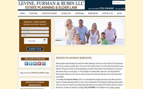 Screenshot of Services Page levinefurman.com - Estate Planning Services - East Brunswick NJLevine & Furman, LLC - captured Aug. 4, 2017