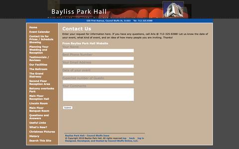 Screenshot of Contact Page baylissparkhall.com - Contact Us - Bayliss Park Hall - Council Bluffs Iowa - captured Nov. 1, 2018