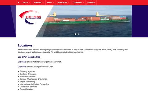 Screenshot of Locations Page expressfreight.com - Locations - Express Freight Management - captured Feb. 1, 2016