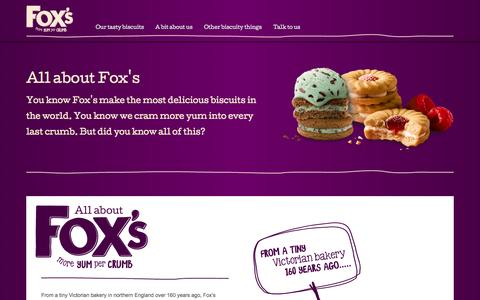 Screenshot of About Page foxs-biscuits.co.uk - A bit about us - captured Oct. 29, 2014
