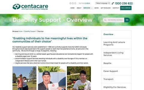 Screenshot of Support Page centacarebrisbane.net.au - Overview - Centacare Brisbane - catholic support services. providing help. creating hope. - captured Dec. 7, 2015
