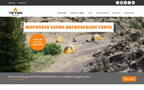 Screenshot of Home Page tetonsports.com - TETON Sports – Let's Get Outdoors. Sleeping bags, backpacks, tents, cots, and camp pads | #Hikerchat - captured Sept. 19, 2014