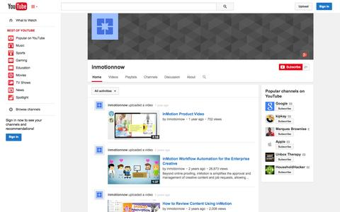 Screenshot of YouTube Page youtube.com - inmotionnow  - YouTube - captured Oct. 22, 2014