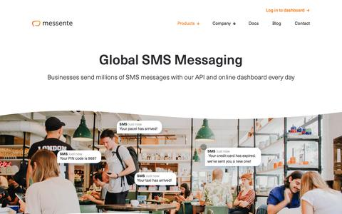 Screenshot of Products Page messente.com - Global SMS API - Messente - captured Oct. 18, 2018