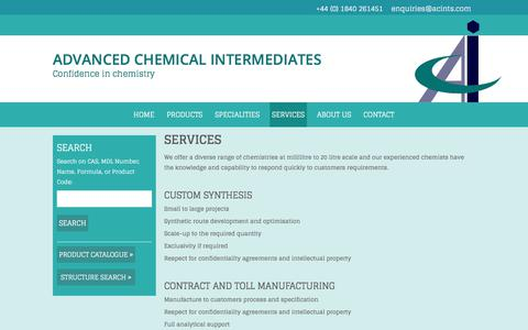 Screenshot of Services Page acints.com - Custom chemical synthesis, research & development, & consultancy services - captured Oct. 6, 2017