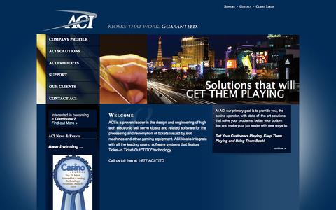 Screenshot of Home Page aci-inc.biz - Welcome to Automated Currency Instruments - captured Oct. 4, 2014