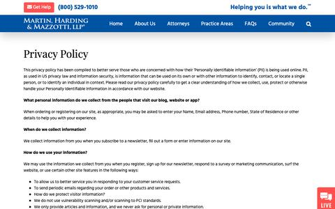 Screenshot of Privacy Page 1800law1010.com - Privacy Policy - Martin, Harding & Mazzotti, LLP - captured June 6, 2019
