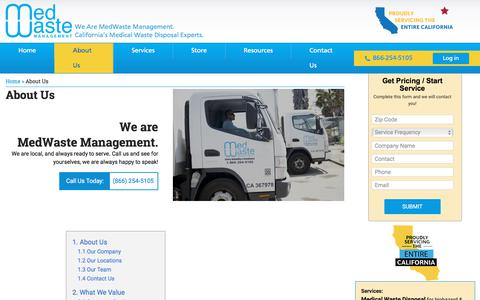 Screenshot of About Page medwastemngmt.com - About Us - MedWaste Management - captured Aug. 29, 2019