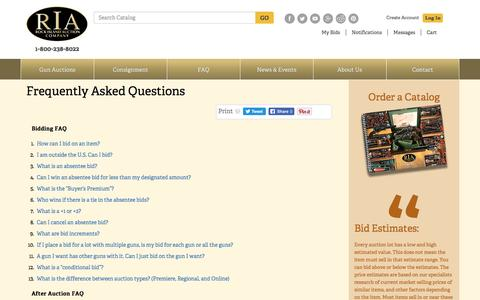 Screenshot of FAQ Page rockislandauction.com - Frequently Asked Questions About Bidding at Gun Auctions - captured March 1, 2017