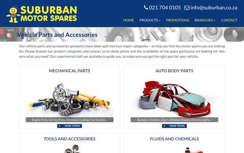 Screenshot of Products Page suburban.co.za - A wide range of Vehicle Spares and Accessories available - captured June 16, 2017