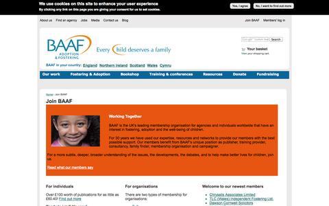 Screenshot of Signup Page baaf.org.uk - Join BAAF | British Association for Adoption and Fostering - captured Sept. 22, 2014