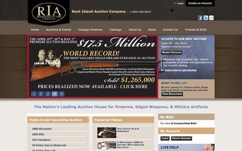 Screenshot of Home Page rockislandauction.com - Antique Firearms Auction and Collectors Gun Auction - captured June 9, 2016
