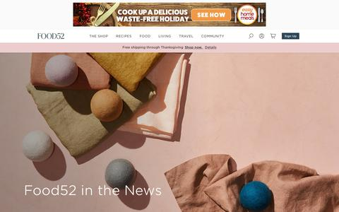 Screenshot of Press Page food52.com - Food52 in the News - captured Nov. 13, 2019