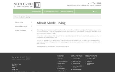 Screenshot of About Page modeliving.co.uk - About Mode Living Mode Living - captured Sept. 24, 2018
