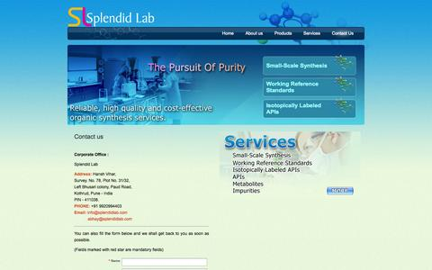 Screenshot of Contact Page splendidlab.com - Custom Synthesis Company in India:Splendid Lab-The Persuit of Purity - captured Sept. 17, 2014