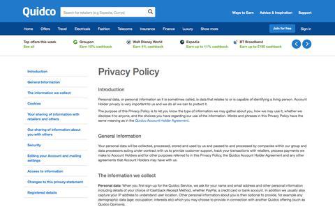 Screenshot of Privacy Page quidco.com - Quidco - The UK's #1 Cashback Site - captured April 19, 2018