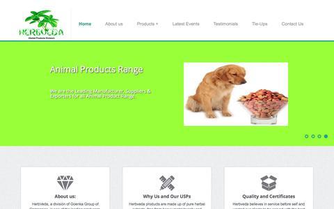 Screenshot of Home Page herbveda.com - Herbveda - captured July 14, 2016