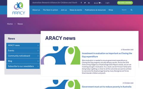 Screenshot of Press Page aracy.org.au - - Australian Research Alliance for Children and Youth (ARACY) - captured Nov. 19, 2016