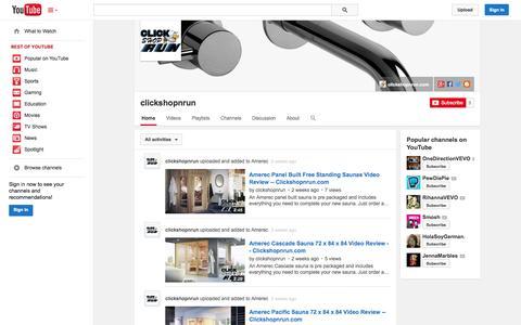 Screenshot of YouTube Page youtube.com - clickshopnrun  - YouTube - captured Oct. 22, 2014