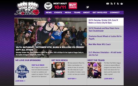 Screenshot of Home Page rosecityrollers.com - Rose City Rollers | Women's Flat Track Roller Derby in Portland, Oregon - captured Sept. 30, 2014