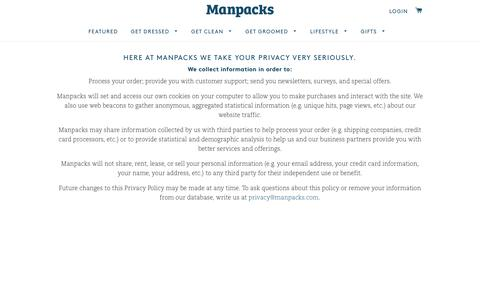 Screenshot of Privacy Page manpacks.com - Privacy Policy – Manpacks - captured April 30, 2017